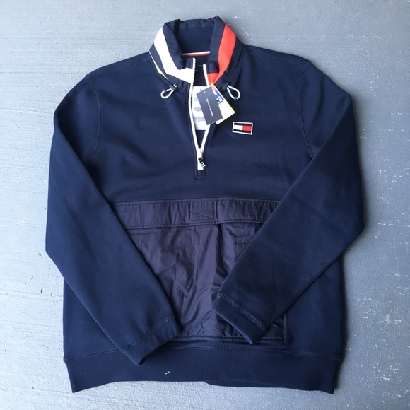 6ccea2af4558 Navy blue Tommy big flag fleece Windbreaker